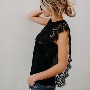 Tops - Black Lace Trim Top Mesh Side Contrast, Sleeveless